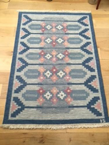 50's Swedish Flat Weave Rug by Ingegerd Silow